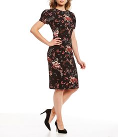 b194f2160df Antonio Melani Tatum Floral Print Puffed Statement Shoulder Sheath Dress