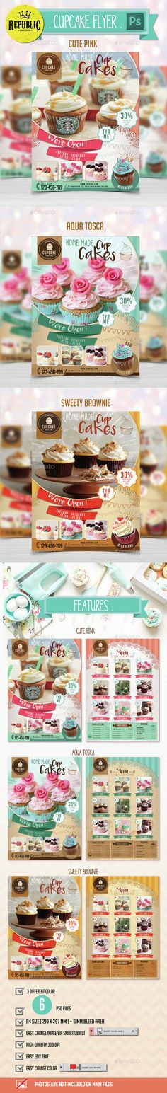 Cupcake Bakery Shop Trifold Brochure Template Pinterest - Bakery brochure template