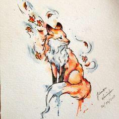 Lovely watercolor fox tattoo designs
