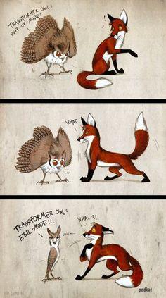 Transformer Owl by Culpeo-Fox on DeviantArt Anime Animals, Funny Animals, Cute Animals, Cute Animal Drawings, Cute Drawings, Fuchs Illustration, Furry Comic, Furry Drawing, Fox Drawing