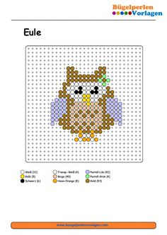 Eule Bügelperlen Vorlage                                                                                                                                                                                 Mehr Hama Beads Patterns, Beading Patterns, Beaded Cross Stitch, Cross Stitch Patterns, Pokemon, Card Patterns, Plastic Canvas Patterns, Hobbies And Crafts, Bead Crafts