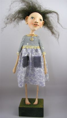 cloth and clay doll by cindy riccardelli