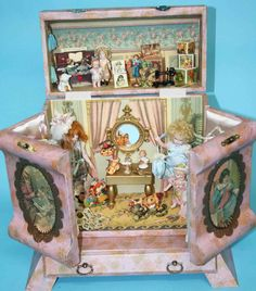 """Exterior of my latest presentation box for 5"""" all bisque or dollhouse dolls"""