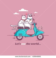 vintage scooter with cat, cool stuff, vector illustration