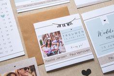 Hip en stijlvolle trouw huisstijl met RSVP, save the date, naamkaartjes en bedankkaartjes.