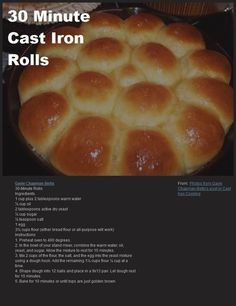 30 Minute Cast Iron Skillet Rolls, by Gayle Chapman-Betts: