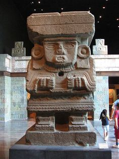 Tlaloc, the God of Rain in Anthropology Museum, Mexico City. Tlaloc, Dios de la Lluvia en el Museo de Antropologia, Ciudad de México.