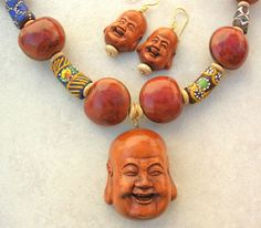 Buddha Necklace Set Very Happy Buddhas African by SandraDesigns, $80.00
