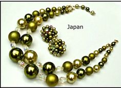 Japan necklace and Earring Set Graduated Double Strand Green Melatic and crystal Bead