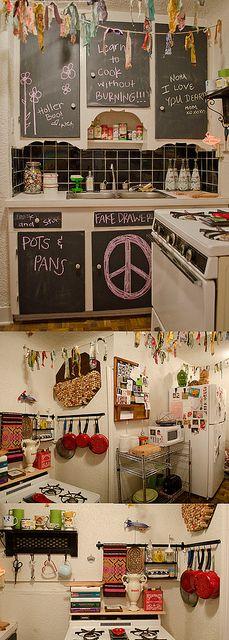 chalkboard paint on kitchen cabinets = amazing idea!