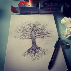 « Projet tattoo dos complet by Will.D #arbre #dessin #chene #racines…