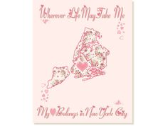 Art Print Hearts and Flowers New York City by PatriotIslandDesigns, $14.00