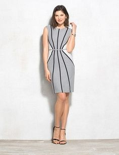 Black and White Textured Piped Dress