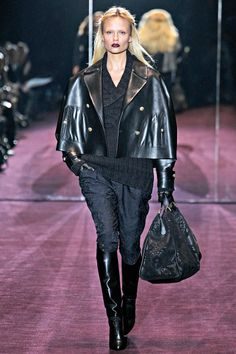 Gucci Fall 2012 RTW- Love the black monochrome and the mixture of textures. And I want those boots.  #AW2012