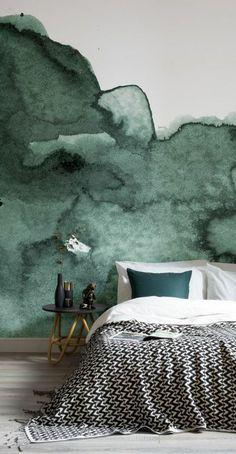 peinture acrylique mur, mur aquarelle dans la cha mbre à coucher