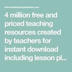 4 million free and priced teaching resources created by teachers for instant download including lesson plans, interactive notebooks, unit plans, novel studies, worksheets, printables, quizzes, task cards, math centers, projects and more. Join over 6 million teachers on the web's most vibrant collaborative exchange.