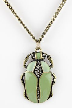 Gold Crystal Insect Necklace - Sheinside.com