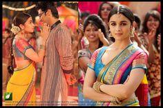 Alia Bhatt Georgette Lace Work Yellow & Blue Bollywood Style Saree  #Saree #Yellow #Blue #Gerogette #AliaBhatt #Bollywood