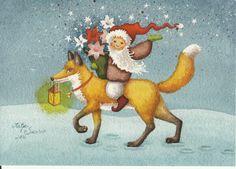 Katja Saario - Joulukettu Winter Solstice, Mail Art, Christmas Greetings, Yule, Finland, Illustrators, Rooster, Foxes, My Love