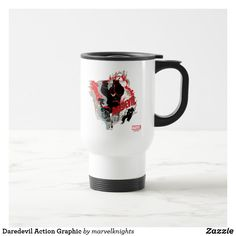 Daredevil Action Graphic Travel Mug. While supplies last, grab these cool classic Daredevil merchandise. Perfect comic book hero gift ideas for birthdays. Action Poses, Daredevil, Comic Book Heroes, Travel Mug, Birthdays, Marvel, Gift Ideas, Mugs, Cool Stuff