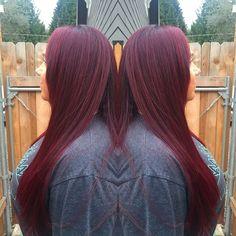Red violet hair. Goldwell elumen