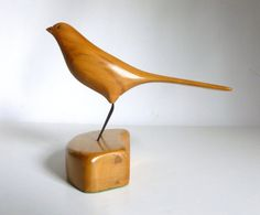 Vintage Carved Wood Bird Statue by JoeBlake on Etsy