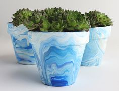 DIY Marbleized Terra Cotta Pots with Acrylic Paint