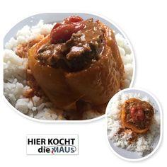 < Gefüllte gelbe Paprika mit Putenhackfleisch >  Rezept: www.facebook.com/hierKochtDieMaus