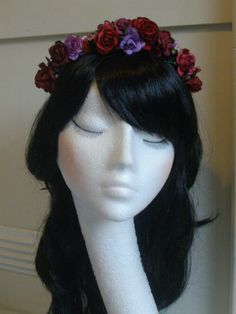 Handmade Rose Floral Garland Headband Hair Band Flower Crown Bridal VTG Burgundy