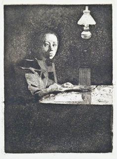 Kathe Kollwitz (1867-1945, German) Self Portrait at Table, Etching on paper