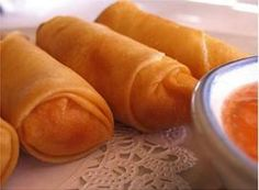 Thai Egg Rolls :Deep-fried spring roll skin stuffed with veggies and glass noodles, served with sweet & sour sauce from Pattaya Bay Restaurant in Los Angeles #Food #Egg #Roll #Restaurant forked.com