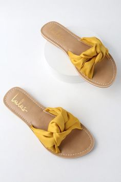 06339672a Style and comfort blend together effortlessly in the Lulus Makenzie Yellow  Satin Slide Sandals! Sleek satin shapes wide
