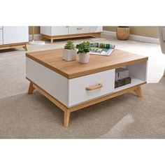 Nordica Coffee Table with Storage Norden Home Colour: White - Products - Wood Coffee Table Decorating Coffee Tables, Coffee Table With Storage, Coffee Table Design, Nordic Furniture, Table Furniture, Furniture Design, Garden Coffee Table, Rustic Coffee Tables, Coffe Table