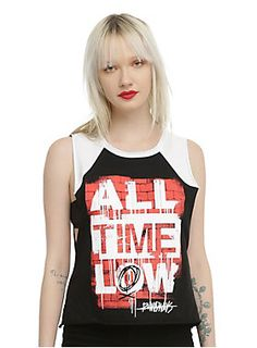 "<p>Black & white raglan style sleeveless top from All Time Low with a large ""Runaways"" inspired brick wall logo design on front.</p>  <ul> 	<li>100% cotton</li> 	<li>Wash cold; dry low</li> 	<li>Made in USA</li> 	<li>Listed in junior sizes</li> </ul>"