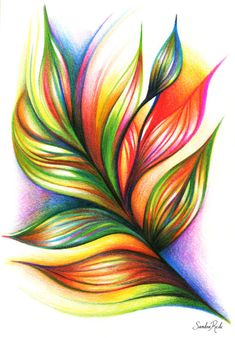 sandrarede: Armonía/ Colored pencils on paper / Sandra Rede...