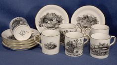 Set of 6 Royal Chelsea Coffee Cans & Saucers Hunting Shooting Fishing