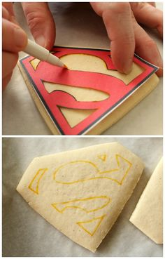 Perfect Superman Cookies - Neat technique for making a stencil to decorate cook. Fancy Cookies, Iced Cookies, Cute Cookies, Royal Icing Cookies, Cookies Et Biscuits, Cupcake Cookies, Sugar Cookies, Cookie Favors, Flower Cookies