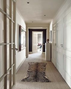 Love the sisal, the animal rug, the black wall at end of hallway and the built in closets on the right.