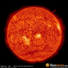 The hourly sun (at 02:45 am  UTC on 22 February 2013)