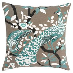 """I like gray and Phil likes this bright teal...they look good together on this pillow. """"Azure on taupe"""" is how it is described."""
