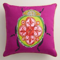 One of my favorite discoveries at WorldMarket.com: Pink Beetle Outdoor Throw Pillow
