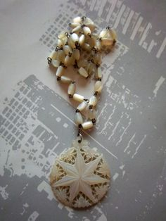 Mother Of Pearl NECKLACE Carved Beaded Star by OnceUponAGem, $34.00