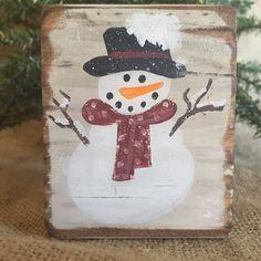 "Primitive Country Snowman 3.5"" x 2.5"" x 1.5"" Shelf Sitter Wood Block #CountryPrimitive #DoughandSplinters #Snowman"
