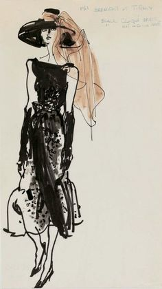 Costume sketch by Kenneth Paul block for Givenchy for Audrey Hepburn in 'Breakfast at Tiffany's', 1961.