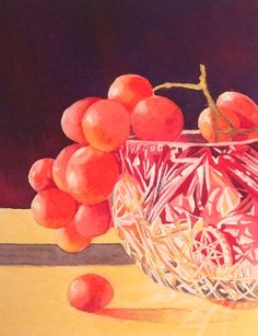 Grapes in cut glass bowl. Watercolour by Judith Jerams.