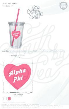 Alpha Phi | A Phi | Heart Tumbler | South by Sea | Sorority Shirts | Sorority Tanks | Greek Shirts