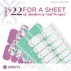 Jamberry Wraps - only $22 a sheet and will give you at least 2 manicures AND 2 pedicures - VALUE!  www.sochicnails.com.au  www.fb.com/sochicnailsau