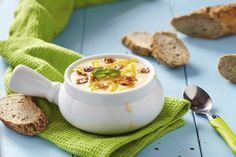 German Potato Soup - Easy Soup Recipe of the Day , Baked Potato Soup, Paula Deen Potato Soup, Easy Soup Recipes, Cooking Recipes, Cooking Food, German Potato Soup, Leftover Baked Potatoes, Light Soups, Bulgur
