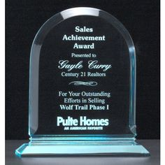 """Our Arch Jade Acrylic Award features 3/4"""" thick piece of acrylic for engraving with an arched top.  A6520 is 7.75"""" tall, A6522 is 8.75"""" tall, and A6524 is 9.75"""" tall.  Each includes free personalized engraving."""