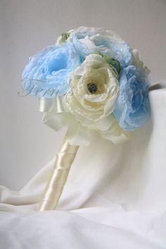 Blue Wedding Flower Bouquet  Handmade Fabric by FernsCottage27, $90.00